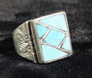 "Sterling Silver Ring, Size 9-1/2, Marked ""Sterling Mexico"", With Turquoise Setting, 11.3 Gram Weight"