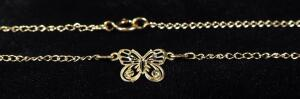 "Bracelet With Butterfly Charm, 8.75"" Long, 0.9g, Unconfirmed Gold Content, Marked (Marking Too Small To Decipher)"