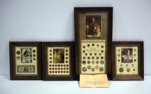 The Freedom Collection Framed Coin Sets, Qty 4, Wartime, Lincoln Memorial, 20th Century & The Silver Standard Collections With Normal Rockwell Prints
