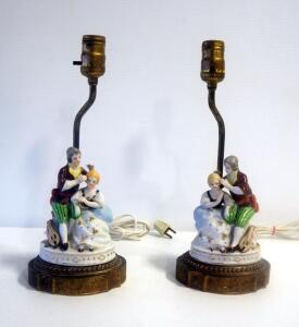 "Matching Pair Of Hand Painted Porcelain And Brass Lamps With Colonial Figures, 16"" Tall, Both Power On"