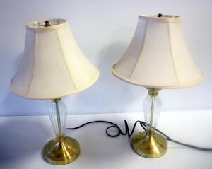 "Matching Pair Of Brass And Glass Table Lamps, 22"" Tall, Both Power On"