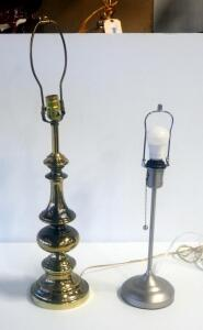 "29"" Decorative Brass Table Lamp And 21"" Pull Switch Bedside Lamp, Both Power On"