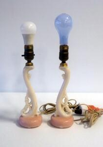 "Matching Pair Of Glass Aladdin Lamps With Scroll Design, 12"" Tall, Both Power On"