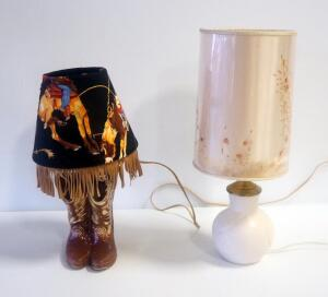 "18"" Ceramic Lamp With Leaf Design And 15"" Cowboy Boot Lamp With Fringed Cloth Shade, Both Power On"