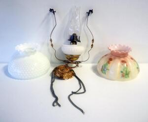 Antique Hanging Hobnail Glass Hurricane Oil Lamp With 2 Interchangeable Shades