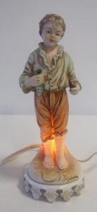 "9"" High Antique Porcelain Aladdin Lamp With Boy Holding Fish, With Interior Light, Powers On"