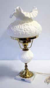 "19"" Milk Glass Lamp With Floral Design And Marble Base, Powers On"