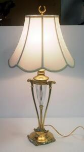 "Decorative Glass And Brass Tone Table Lamp, 32"" High, Powers On"
