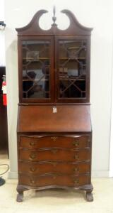 "Secretary Desk With 4 Lower Drawers In Hutch With Glass Doors, Serpentine Front, Dovetail Construction, Includes Key, 80"" High x 31"" Wide x 17"" Deep"