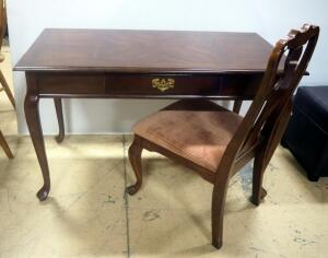 "Writing Desk With Single Drawer, Brass Hardware, Club Feet, 29"" High x 48"" Wide x 24"" Deep, With Matching Chair"