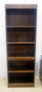 "5- Shelf Bookcase, 71"" High x 24"" Wide x 12"" Deep"