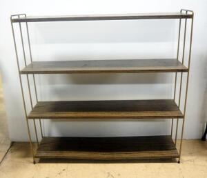 "Mid Century Metal 4-Shelf Bookshelf, With Faux Wood Grain Look, 36"" High x 37"" Wide x 9.25"" Deep"