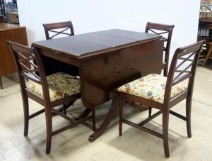 "Rway Drop Leaf Table With 3 Leaves, 6 Matching Chairs, And Table Cover, 30"" High x 42"" Wide x 27"" (Without Leaves, 95"" Long Fully Extended)"