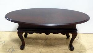 "Wood Oval Coffee Table, Club Legs, 16"" High x 40"" Wide x 22"" Deep"