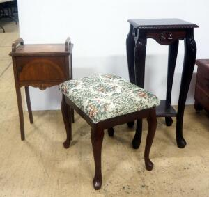 Two Nightstand Tables, 1 With Single Door And Other With Lower Shelf, And Fabric Topped Footstool