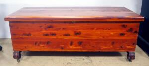 "Cedar Chest With Hinged Lid, Has Lock But No Key Needed, 3 Casters Are Missing Wheels, 17"" High x 44"" Wide x 17.5"" Deep"