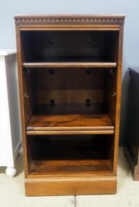 "Cabinet With 2 Adjustable Shelves And 1 Slide Out Shelf, 37"" High x 19.5"" Wide x 20"" Deep, Some Cosmetic Wear, Some Shelf Hardware Needed"