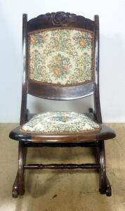 "Unique Folding Rocking Chair With Needlepoint Back And Seat And Carved Rose In Headrest, 29"" High"
