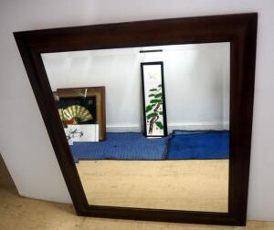"Framed Mirror With Beveled Glass And French Cleat, 36"" Wide x 40"" High"