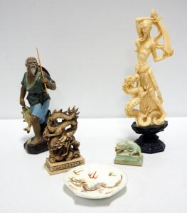 Oriental Dragon Figurine Collection Including Ceramic, Stone And Resin Figures, Qty 5