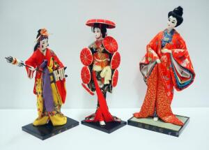 Japanese Geisha Dolls With Painted Faces, On Wood Bases Qty 3, Tallest Measures 18""