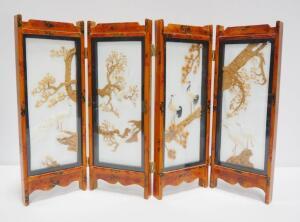 "Oriental Carved Cork With Feathered Birds In A 4-Panel Folding Screen With Glass Panes, 14.5"" High x 24"" Wide"