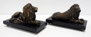 Matching Bombay Brass Lion Figures On Marble Bases, Qty 2