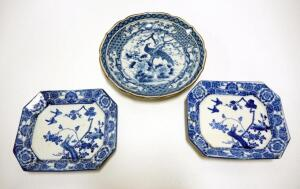 Blue And White Oriental Ceramic Plates With Bird And Tree Designs, Qty 3