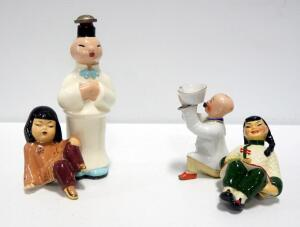 Ceramic Asian Figures, Including Cleminsons Decanter And More