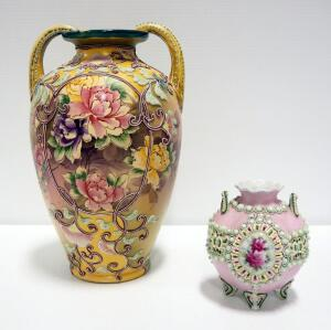 "Moriage Vases With Floral Design Qty. 2, 5.25"" Tall And 12.25"" Tall"