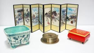 Inarco Ceramic Candy Dish, 8-Panel Oriental Character Screen, Wood Music Box And Brass Coasters
