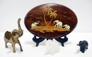 Elephant Figurine Collection, Including Glass, Brass And Cast Iron Figures And Carved Plaque