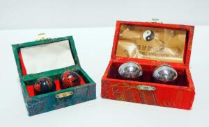 Chinese Health Exercise Stress Baoding Balls In Cloth Wrapped Cases, Qty 2 Sets