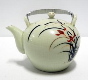 Japanese Hand Painted Ceramic Teapot With Lid