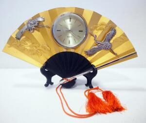 Toyo Metal Hand Fan Clock On Stand, With Bonsai Tree And Crane Images