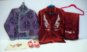 Vintage Oriental Clothing circa 1940's, Includes Two Red Button Shirts, Slippers, Jacket, And Scarf, Embroidered With Dragon Designs And More
