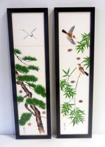 "Framed Oriental Hand Painted Ceramic Tiles With Bird Themes, Qty 2, 25.5"" Tall x 7.25"" Wide"