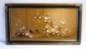 "Framed, Under Glass, 4-Panel Floral Painting With Birds 17"" High X 31"" Wide"