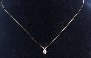 "14k Gold Chain, 15"" Long, With Clear Stone Pendant 0.9g"