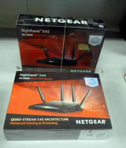 NetGear Nighthawk X4S Smart WiFi Routers With Quad-Stream Architecture For Advanced Gaming And Streaming Model AC2600, Qty 2, New In Box