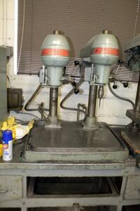 "Cincinnati Royal 16"" Dual Bench Top Drill Presses, Includes Workbench (32"" x 95"" x 28"") And Cutting Oil System; SECOND DAY LOAD OUT ONLY, Bidder..."
