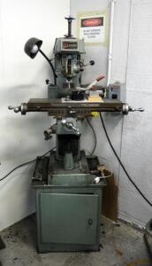 Atlas Clausing Vertical Milling Machine Model 8520, Includes Tooling And Cabinet Base, Powers On