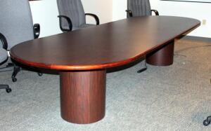 "Large Executive Conference Table With Pedestal Bases - 29"" x 144"" x 48"", Bidder Responsible For Proper Removal"