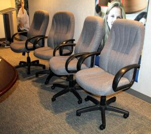 FDL Upholstered Adjustable Rolling Office Chairs, Model 590-369-03-311, Qty 4