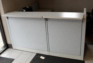 "Hon 6 Drawer L-Shaped Reception Cubicle With Pull Out Keyboard Tray, Includes Keys, 42"" x 77"" x 80"", Contents Not Included"