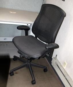 "Herman Miller Fully Adjustable Rolling Desk Chair, Model CJ123AAFC, 29.5"" W x 15.5"" D x 43.5"" H; And 4' x 5' Chair Mat"