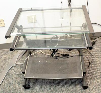 "Glass Top Rolling Computer Desk With Pullout Keyboard Tray - 29.5"" x 26.5"" x 19"", Contents Not Included"