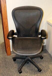 Herman Miller Fully Adjustable Rolling Desk Chair With Mesh Seat And Back, Model AE123AWC