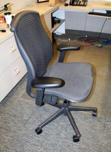 "Herman Miller Fully Adjustable Rolling Desk Chair, Model CJ123AAFC, 29.5"" W x 15.5"" D x 43.5"" H; And 60"" x 72"" Chair Mat (Mat Has Some Damage/Wear)"