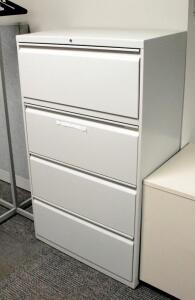 "Hon 4 Drawer Lateral Filing Cabinet, No Key, 52.5"" x 30"" x 18"", Contents Not Included"
